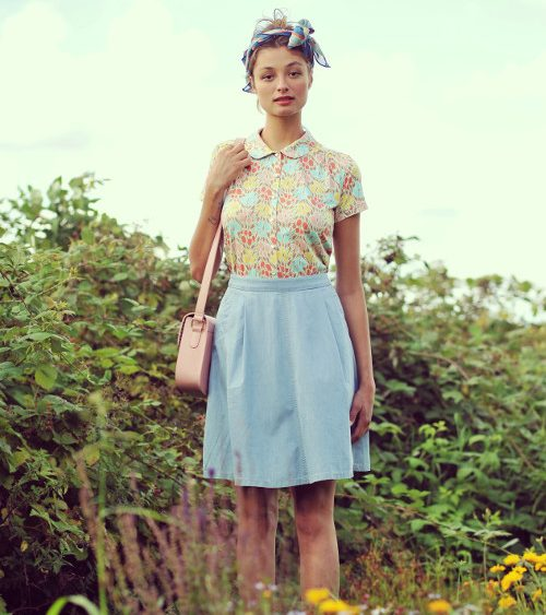 King Louie S16p45 - Blouse shsl Tulips, Sissy skirt Chambray, Foulard, Perforated Midi Bag